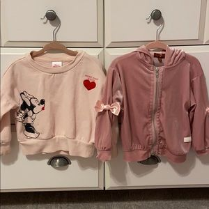 2 pink sweatshirts toddler girls 2t & 24months
